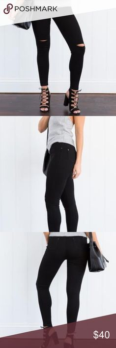 🏍💨 Runaway Kid Ripped Black Jeggings A gorgeous pair of jeggings that are so totally biker chic! Pair with a basic white tee and a leather jacket. 📸 Mura Boutique. Available in AUS 6/XS and AUS 10/M. Measurements in 4th photo.  DETAILS: Jegging material - not jeans Band around waist Back pockets Slip on wear Small tear details at knees  FIT: Regular fit Very stretchy fabric 95% Polyester 5% Spandex  MODEL MEASUREMENTS: Model wears AUS 8/S Ava. Pants Leggings