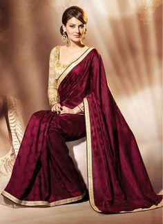 big-maroon-golden-chiffon-jacquard-pattern-saree-with-jari-