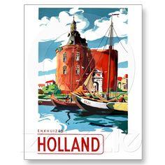 Holland ~ Vintage Netherlands Travel Poster Enkhuizen