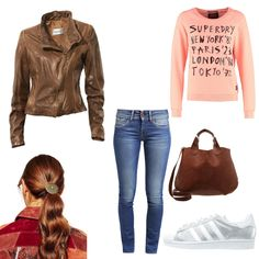 OneOutfitPerDay 2016-02-15 Modischer Casual-Look - #ootd #outfit #fashion #oneoutfitperday #fashionblogger #fashionbloggerde #frauenoutfit #herbstoutfit - Frauen Outfit Frühlings Outfit Outfit des Tages Sommer Outfit Adidas Originals ASOS Casual-Look Even & Odd Haarband Heine Lederjacke Pepe Jeans Superdry Sweatshirt Tasche