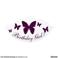 Lila Schmetterlinge Partyhütchen Girl Birthday, Purple Butterfly, Welcome Home, Visit Cards, Postcards