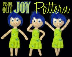 The first of an Inside Out pattern collection - Joy! One of my best and most favorite patterns.  #Bendable, #Bendy, #Best, #Crochet, #Cute, #Disney, #Doll,  #Easy, #Embroidery, #Good, #Hair, #Inside #Out, #InsideOut, #Intermediate, #Joy, #Pattern, #Patterns, #PipeCleaners, #Pixar, #Poseable, #Wire, #crocheteddoll #crochetaddict #designedbyoj #amigurumiaddict #amigurumi #crocheting #crochetoftheday #crochetgeek