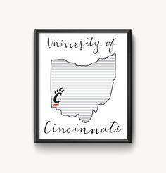 University of Cincinnati Hand Lettered Print by AmandaLouiseDesign