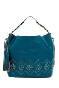 """Artisanal Braid Hobo by Isabella Fiore in Blue - - Single shoulder strap - Lobster clasp top closure - Exterior features woven leather detail & fringe tassel accents - Interior features zip wall pocket - Dust bag included - Approx. 12.5"""" H x 12.25"""" W x 4.75"""" D - Approx. 5.5"""" handle drop - Imported - Materials: Leather"""
