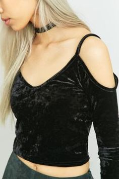 Shop Urban Outfitters Cold Shoulder Velvet Top at Urban Outfitters today. Velvet Tops, Cold Shoulder, Shoulder Tops, Crop Tops, Tank Tops, Urban Outfitters, Camisole Top, Fashion Outfits, Model