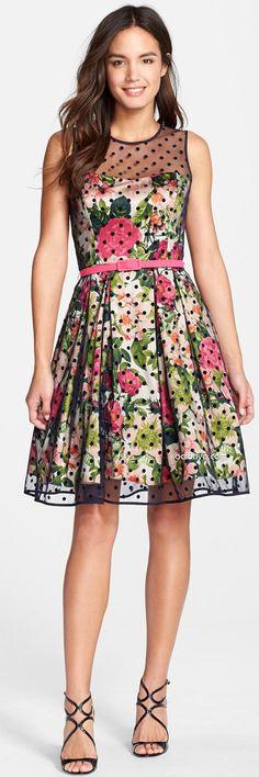 Eliza J Polka Dot Mesh & Print Charmeuse Fit & Flare Dress: Shop this Style