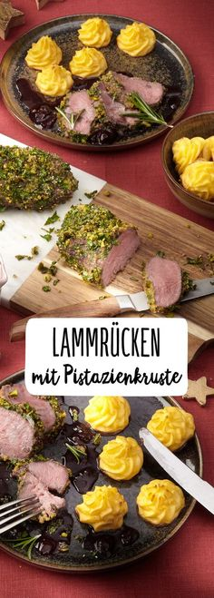 Lammfilet mit Pistazienkruste & Herzoginkartoffeln On the holidays it can be something special! Treat yourself with our REWE recipe to fine lamb fillet with pistachio crust and tender duchess potatoes Holiday Appetizers, Holiday Recipes, Duchess Potatoes, How To Cook Lamb, Xmas Dinner, Yummy Food, Tasty, Food Inspiration, Love Food