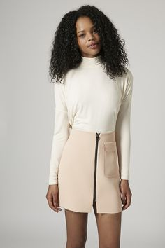 Trends to watch for: High neckline or Embellished neck - Long Sleeve Crepe Polo Top - Topshop