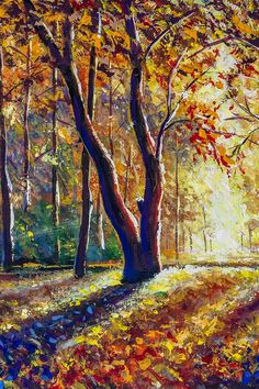 Sunny autumn forest park landscape hand painting by Rybakow Back Background, Graphic Illustration, Illustrations, Park Landscape, Original Paintings For Sale, Back Art, Autumn Forest, Forest Park, Hand Painting Art