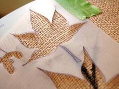 How to Create a Fall Leaf Lampshade Burlap Lampshade, Lampshades, Fall Season, Hgtv, Autumn Leaves, Stencils, Seasons, Create, Handmade