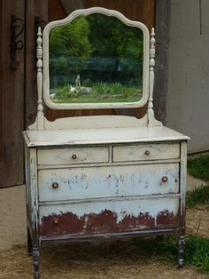 Behind The Barn Finish Old Dresser With Wooden Caster Wheels Antique Mirror Gl