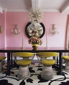 A Divine Dining Room. In yellow Platner chairs around a glossy black table in the glow of pretty pink walls. Interior Design: Betsey Johnson for her New York home. Home Interior, Interior Decorating, Modern Interior, Decorating Ideas, Decor Ideas, Room Ideas, Pastel Interior, Yellow Interior, French Interior
