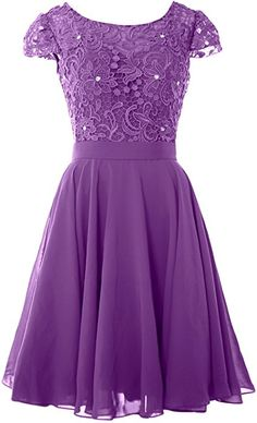 MACloth Women Cap Sleeve Mother of The Bride Dress Lace Short Formal Party Gown (2, Amethyst) at Amazon Women's Clothing store: