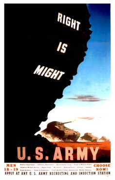 """American WWII US Army recruitment poster, """"RIGHT is MIGHT"""""""