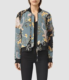 Allsaints Iva Heron Bomber In Grey Cool Bomber Jackets, Silk Bomber Jacket, Bomber Jacket Outfit, Cool Jackets, Vetement Fashion, Jackets For Women, Clothes For Women, Inspiration Mode, Casual Street Style