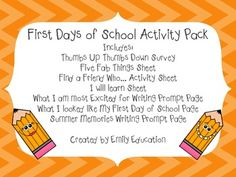 First Days of School Activity Pack $1