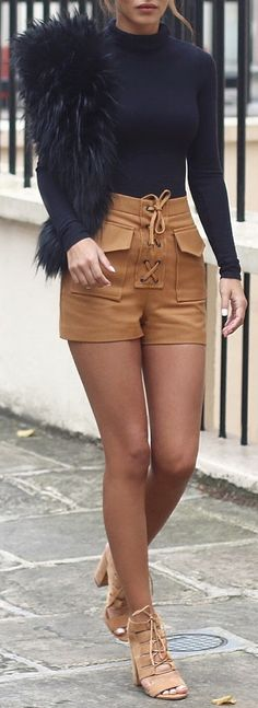Ribbed Turtle Neck - Asos // Fur Scarf - Charlotte Simone // Lace Up Shorts - Topshop
