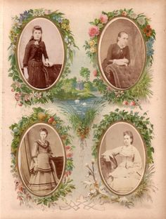 Four seasons page from a Victorian photograph album. Thephotographs (carte de visite size)are of four young ladiesin various poses, dress...