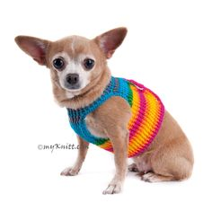 Rainbow Dog Harness Velcro Adjustable Choke Free Puppy Clothes DH45 - Myknitt (2)