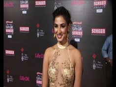 Sonal Chauhan in SEE THROUGH GOWN @ Life Ok Screen Awards 2014.