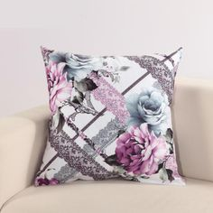 Purple flowers throw pillow for couch Chinese style