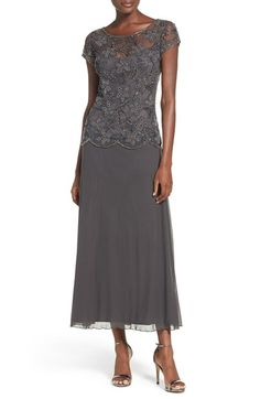 Pisarro Nights Beaded Mesh Gown (Regular & Petite) available at Mother Of The Bride Fashion, Mother Of The Bride Dresses Long, Mother Of Bride Outfits, Mothers Dresses, Elegantes Outfit Frau, Mom Dress, Special Dresses, Tea Length Dresses, Nordstrom Dresses