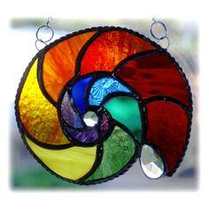 Ammonite Stained Glass Suncatcher Rainbow Crystal £16.00