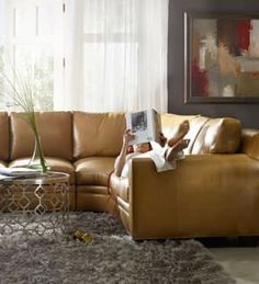 Kick your feet up on the luxurious leather of a Bradington-Young sectional sofa. Find Bradington-Young's fine leather furniture for your living room at West Coast Living