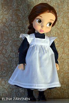 Belle and school dress. Disney Baby Dolls, Disney Babies, Little Disney Princess, Disney Animators Collection Dolls, Disney Animator Doll, Fabric Combinations, School Dresses, Doll Repaint, New Dolls