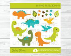 Dinosaur Clipart / Dinosaur Baby Shower / por LittlePrintsParties