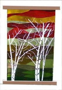 Birches, fusion glass window hanging, fusion glass, Eleanor Brownridge, glass artist, TurtleCreek Art Glass