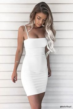 white dress Tight - short white sleeveless v-neck short evening dresses spaghetti-straps satin homecoming dress Homecoming Dresses Tight, Sexy Dresses, Cute Dresses, Dress Outfits, Evening Dresses, Fashion Outfits, Graduation Dresses, Dress Prom, Tight Dresses Formal
