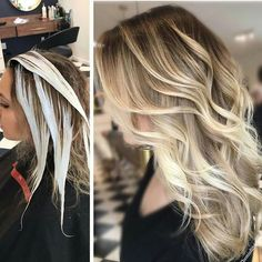 Trendy Hair Highlights : Balayage application & finished +Tips; Trendy hairstyles and colors Women hair colors; Cabelo Ombre Hair, Balayage Hair Blonde, How To Balayage, How To Bayalage Hair, How To Ombre Hair, Baylage Blonde, Haircolor, Carmel Blonde Hair, Hair Color Techniques