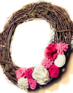 Valentine's Day Wreath, Felt Flower Wreath, Holiday Decor, Pink Wreath, Grapevine Wreath., via Etsy.