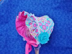 Reversible Baby Bonnet Turquoise and Pink with Lace Pink Baby Bonnet by AdorableandCute on Etsy