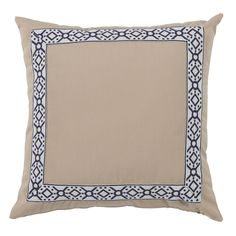 OUT45 Como Navy Tape on Almond Outdoor Pillow