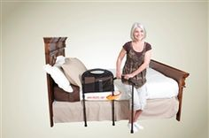 Bed safety rail with swing-out legs and arm is a standing aid for elderly that provides support and stability when getting up to a standing position from bed.  Includes 4 pocket organizer, good for wheelchair use too.