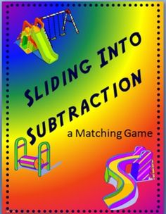 Sliding into Subtraction - Matching Game -  This game can be played with 2 or 3 players.     Included are several sets of cards over different skills that can be used to review one or more skills at a time.     Skills card sets included are:   -0 -1 -2 -3 -4 -5   -6 -7 -8 -9 -10     The more skill card sets included in a single game increase the number of pairs a person needs to collect in order to win.     Each set has a unique graphic for easier sorting if sets are mixed.