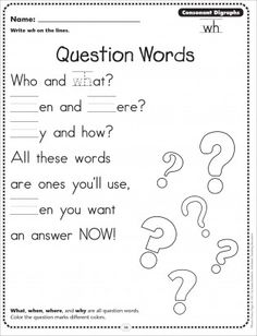 Question Words (Consonant Digraphs - wh): Phonics Poetry Page