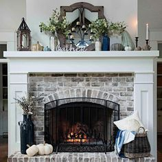 30 Interesting Fireplace Makeover For Farmhouse Home Decor. If you are looking for Fireplace Makeover For Farmhouse Home Decor, You come to the right place. Below are the Fireplace Makeover For Farmh. Brick Fireplace Makeover, Home Fireplace, Living Room With Fireplace, Fireplace Design, Fireplace Ideas, White Mantle Fireplace, Fireplace Hearth Decor, Mantle Ideas, Fireplace Update