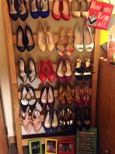 What do you do when you have too many shoes? Use the loft part of your bed to make a shoe ladder. The sad part is I still have many more shoes in my closet. This idea was an Emilee original.