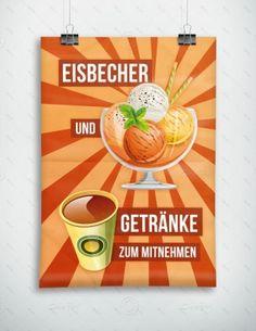 Eisbecher und Getränke zum mitnehmen - Werbeplakat - Poster, P-FP-0029D   Plakate   Werbedesigns   Despri