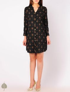 Buy Black - Orange Hand woven Ikat Button Detailed Cotton Tunic by Jaypore Online at Jaypore.com