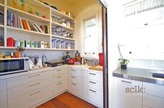scullery drawers Scullery Ideas, Pantry Design, Butler Pantry, Open Shelving, Storage Solutions, Kitchen Ideas, Drawers, Kitchens, House Ideas
