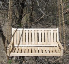 How To Make a Mini Porch Swing - This looks cool, and simple. I used to make doll houses and would have loved to put one of these on my porches.