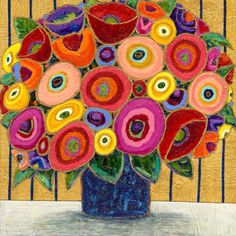 Imaginary Bouquet by Maria Reyes-Jones Mini Paintings, Abstract Flowers, Whimsical Art, Art Images, Flower Art, Watercolor Art, Decoupage, Art Projects, Original Art