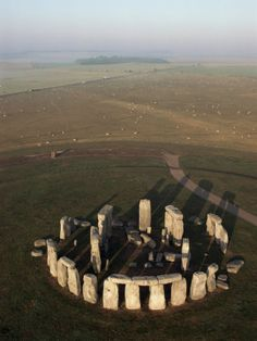 Aerial view of Stonehenge, Salisbury Plain, Wiltshire, England magnificent stone circle ca. 2550-1600 BCE