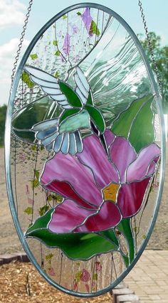 Hummingbird and Flower Stained Glass Panel