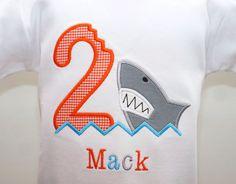 Shark Birthday Applique Shirt - Boys Shark Birthday Theme - Children's Boutique Clothes - Shark - second birthday - customizable