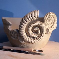 Ammonite yarn bowl. Unfired. This bowl is available at £100GBP ($169) + shipping. earthwoolfire@gmail.com